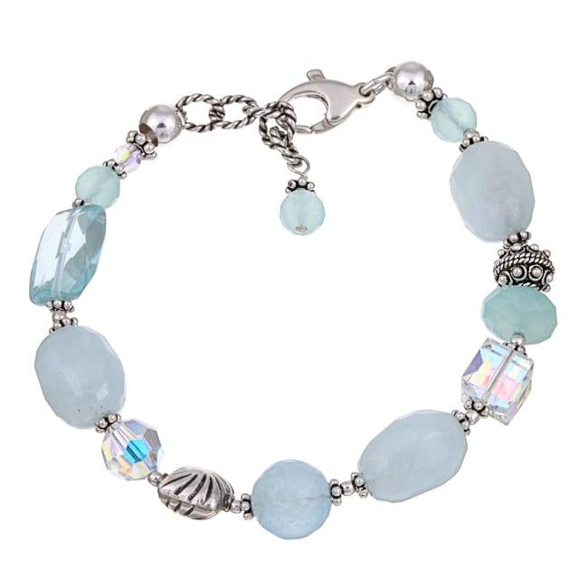 Lola's Jewelry Sterling Silver Aquamarine and Chalcedony Bracelet