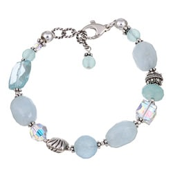 Lola's Jewelry Sterling Silver Aquamarine and Chalcedony Bracelet