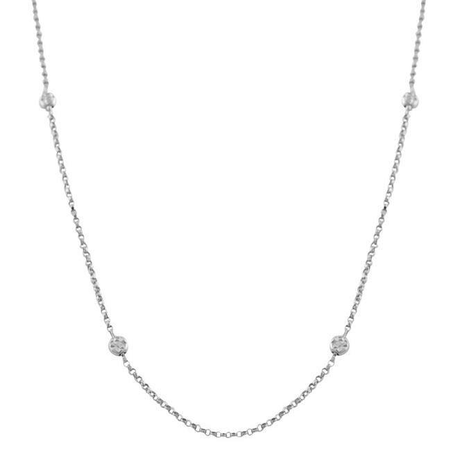 Fremada 14k White Gold 60-inch Diamond-cut Bead Necklace