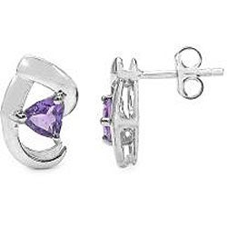 Malaika Sterling Silver Genuine Amethyst Stud Earrings - Thumbnail 1