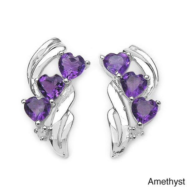 Malaika Sterling Silver Gemstone and Diamond Accent Earrings (H-K,I3)