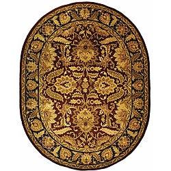 Safavieh Handmade Classic Jaipur Burgundy/ Black Wool Rug (4'6 x 6'6 Oval)