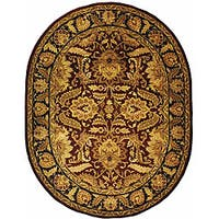 "Safavieh Handmade Classic Jaipur Burgundy/ Black Wool Rug - 4'6"" x 6'6"" oval"