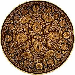 Safavieh Handmade Classic Jaipur Burgundy/ Black Wool Rug - 6' x 6' Round - Thumbnail 0