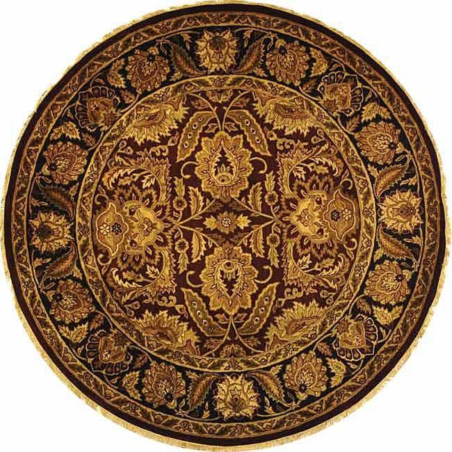 Safavieh Handmade Classic Jaipur Burgundy/ Black Wool Rug (8' Round)