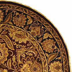 Safavieh Handmade Classic Jaipur Burgundy/ Black Wool Rug (8' Round) - Thumbnail 1