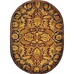 Safavieh Handmade Classic Jaipur Rust/ Black Wool Rug (7'6 x 9'6 Oval)