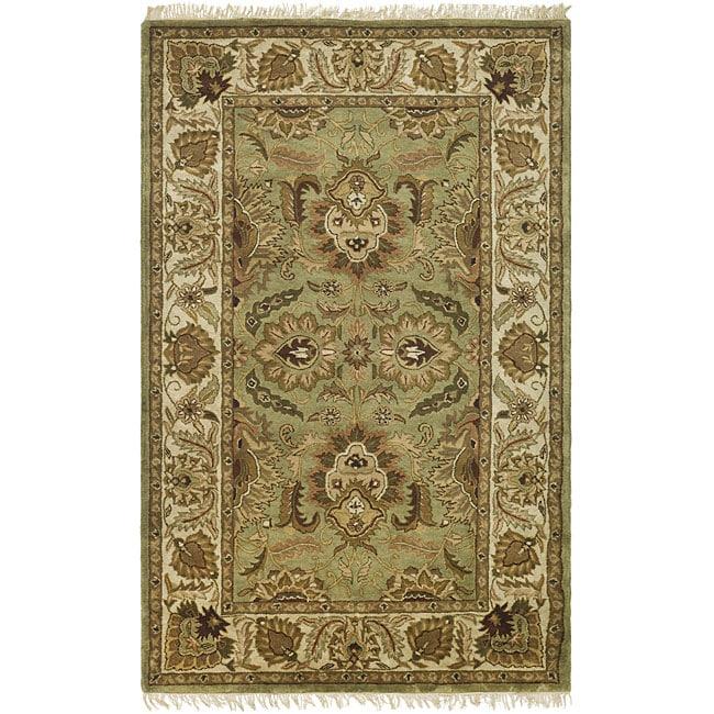 Safavieh Handmade Classic Jaipur Green/ Ivory Wool Rug (7'6 x 9'6)