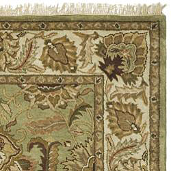 Safavieh Handmade Classic Jaipur Green/ Ivory Wool Rug (7'6 x 9'6) - Thumbnail 1