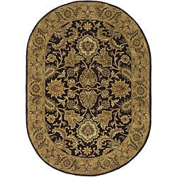 Safavieh Handmade Classic Regal Dark Plum/ Gold Wool Rug (4'6 x 6'6 Oval)