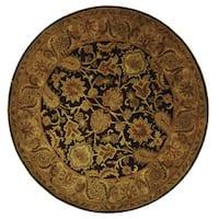 Safavieh Handmade Classic Regal Dark Plum/ Gold Wool Rug - 6' Round