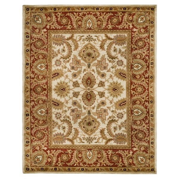 "Safavieh Handmade Classic Jaipur Ivory/ Red Wool Rug - 9'-6"" x 13'-6"""