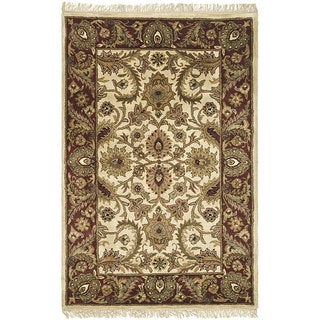 Safavieh Handmade Classic Jaipur Ivory/ Red Wool Rug (4' x 6')