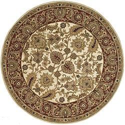 Safavieh Handmade Classic Jaipur Ivory/ Red Wool Rug (6' Round)