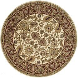 Safavieh Handmade Classic Jaipur Ivory/ Red Wool Rug (8' Round)