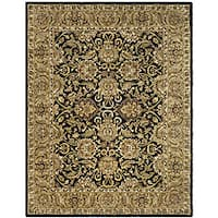 Safavieh Handmade Traditions Black/ Light Brown Wool Rug (7'6 x 9'6)