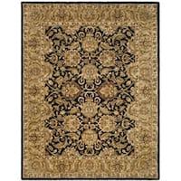 "Safavieh Handmade Traditions Black/ Light Brown Wool Rug - 7'-6"" x 9'-6"""