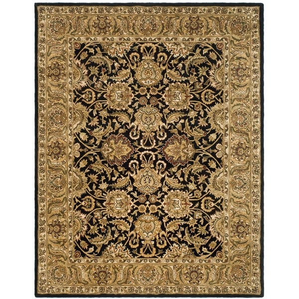 "Safavieh Handmade Traditions Black/ Light Brown Wool Rug - 7'6"" x 9'6"""