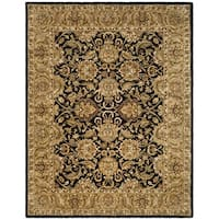 "Safavieh Handmade Traditions Black/ Light Brown Wool Rug - 8'3"" x 11'"