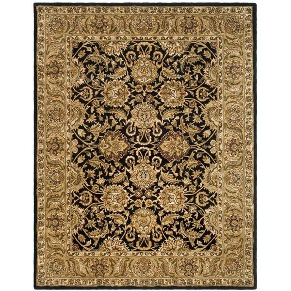 "Safavieh Handmade Traditions Black/ Light Brown Wool Rug - 8'-3"" x 11'"