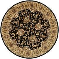 Safavieh Handmade Traditions Black/ Light Brown Wool Rug - 5' x 5' round