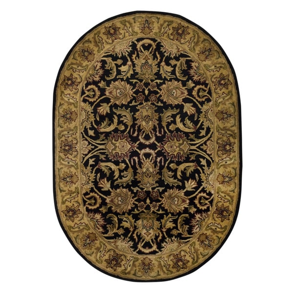 Safavieh Handmade Traditions Black/ Light Brown Wool Rug (4'6 x 6'6 Oval)
