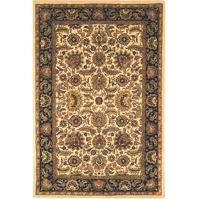 Safavieh Handmade Classic Heirloom Ivory/ Navy Wool Rug (6' x 9')