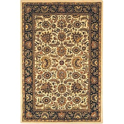 Safavieh Handmade Classic Heirloom Ivory/ Navy Wool Rug (7'6 x 9'6)