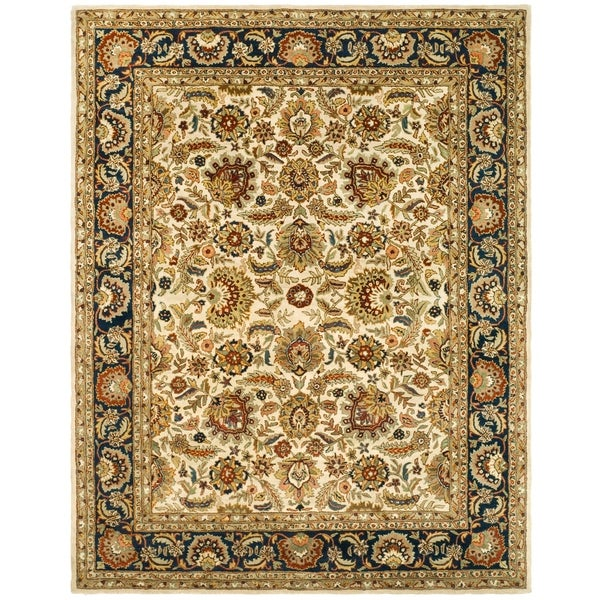 "Safavieh Handmade Classic Heirloom Ivory/ Navy Wool Rug - 7'-6"" x 9'-6"""