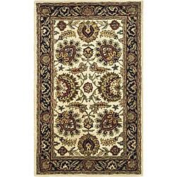 Safavieh Handmade Classic Heirloom Ivory/ Navy Wool Rug (3' x 5')