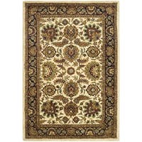 Safavieh Handmade Classic Heirloom Ivory/ Navy Wool Rug - 4' x 6'