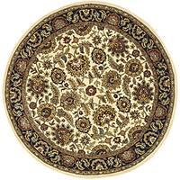 """Safavieh Handmade Classic Heirloom Ivory/ Navy Wool Rug - 3'6"""" x 3'6"""" round"""