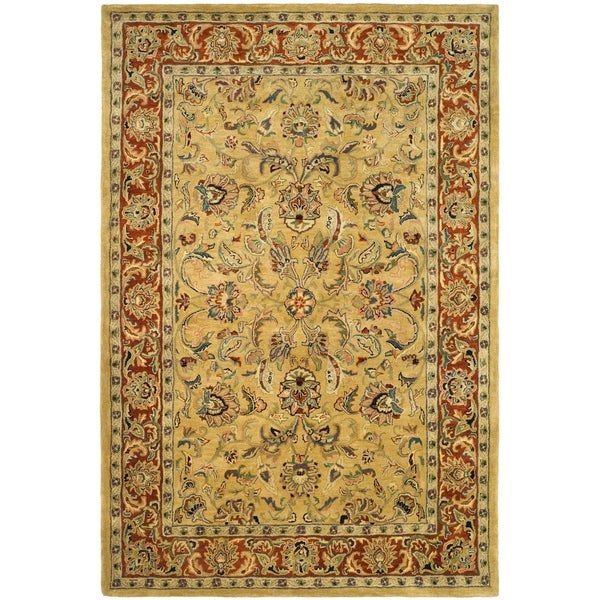 "Safavieh Handmade Amol Gold/ Red Wool Rug - 8'-3"" x 11'"