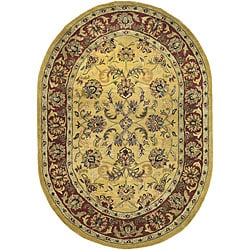 Safavieh Handmade Amol Gold/ Red Wool Rug (4'6 x 6'6 Oval)