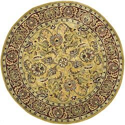 Safavieh Handmade Amol Gold/ Red Wool Rug (3' 6 Round)