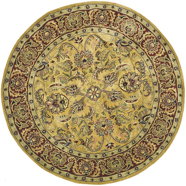 Safavieh Handmade Amol Gold Red Wool Rug 6 Round