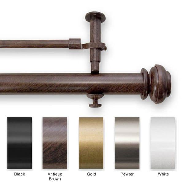 Bold Pole Double 90 to 144-inch Adjustable Window Rod Set