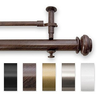 Pinnacle Bold Pole Double 90 to 144-inch Adjustable Window Rod Set - 144