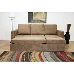 Linden Convertible Tan Microfiber Sectional Sofa Bed Free Shipping Today Overstock