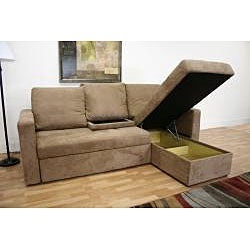 Linden Convertible Tan Microfiber Sectional / Sofa Bed