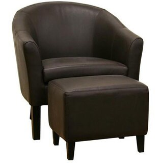 Tiptyn Dark Brown Leather 2-piece Club Chair and Ottoman Set