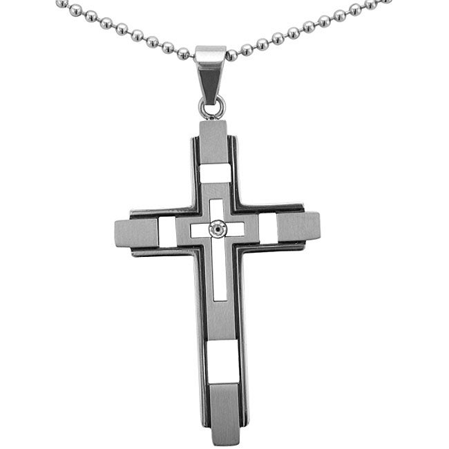 Unending Love Stainless Steel Diamond Accent Cross Necklace