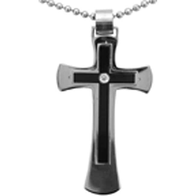 Unending Love Stainless-Steel Ball-Chain Diamond-Accent Cross Necklace