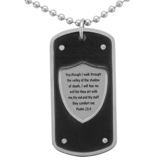 Unending Love Stainless Steel Men's 1/10ct TDW Diamond Dog Tag Necklace