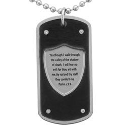 Unending Love Stainless Steel Men's 1/10ct TDW Diamond Dog Tag Necklace (I-J, I2)