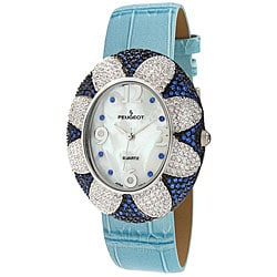 Peugeot Women's Blue Oval Flower Watch