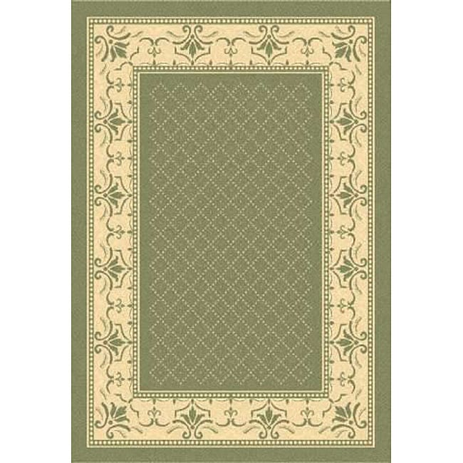 Safavieh Royal Olive Green/ Natural Indoor/ Outdoor Rug (8' x 11')