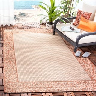 Safavieh Courtyard Natural/ Terracotta Indoor/ Outdoor Rug (8' x 11')