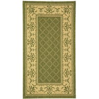 Safavieh Royal Olive Green/ Natural Indoor/ Outdoor Rug - 2'7 x 5'