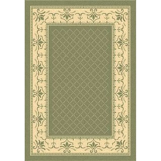 Safavieh Royal Olive Green/ Natural Indoor/ Outdoor Rug (5'3 x 7'7)